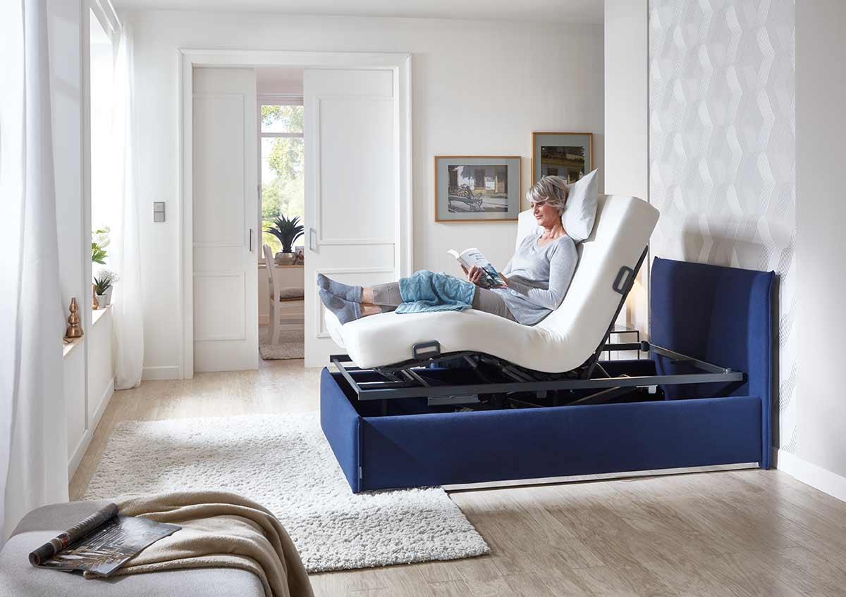Elektrischer Lattenrost Relaxposition blau